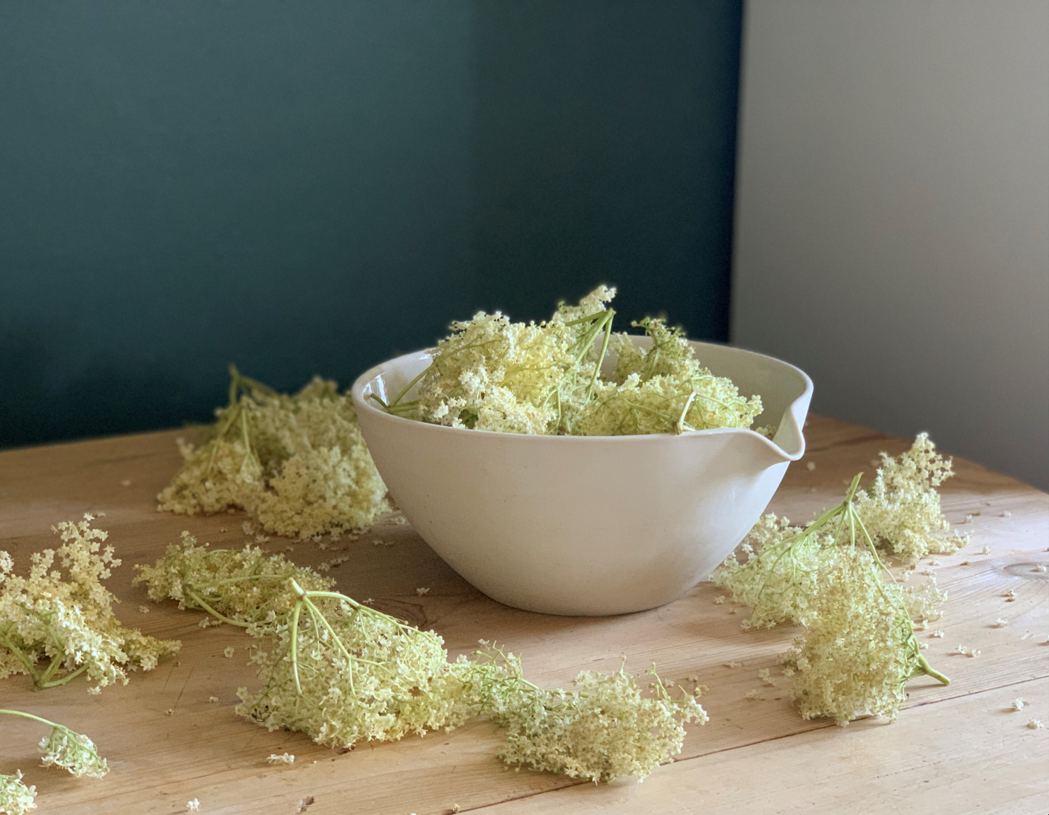 Mixing Pouring Bowl filled with Elderflower