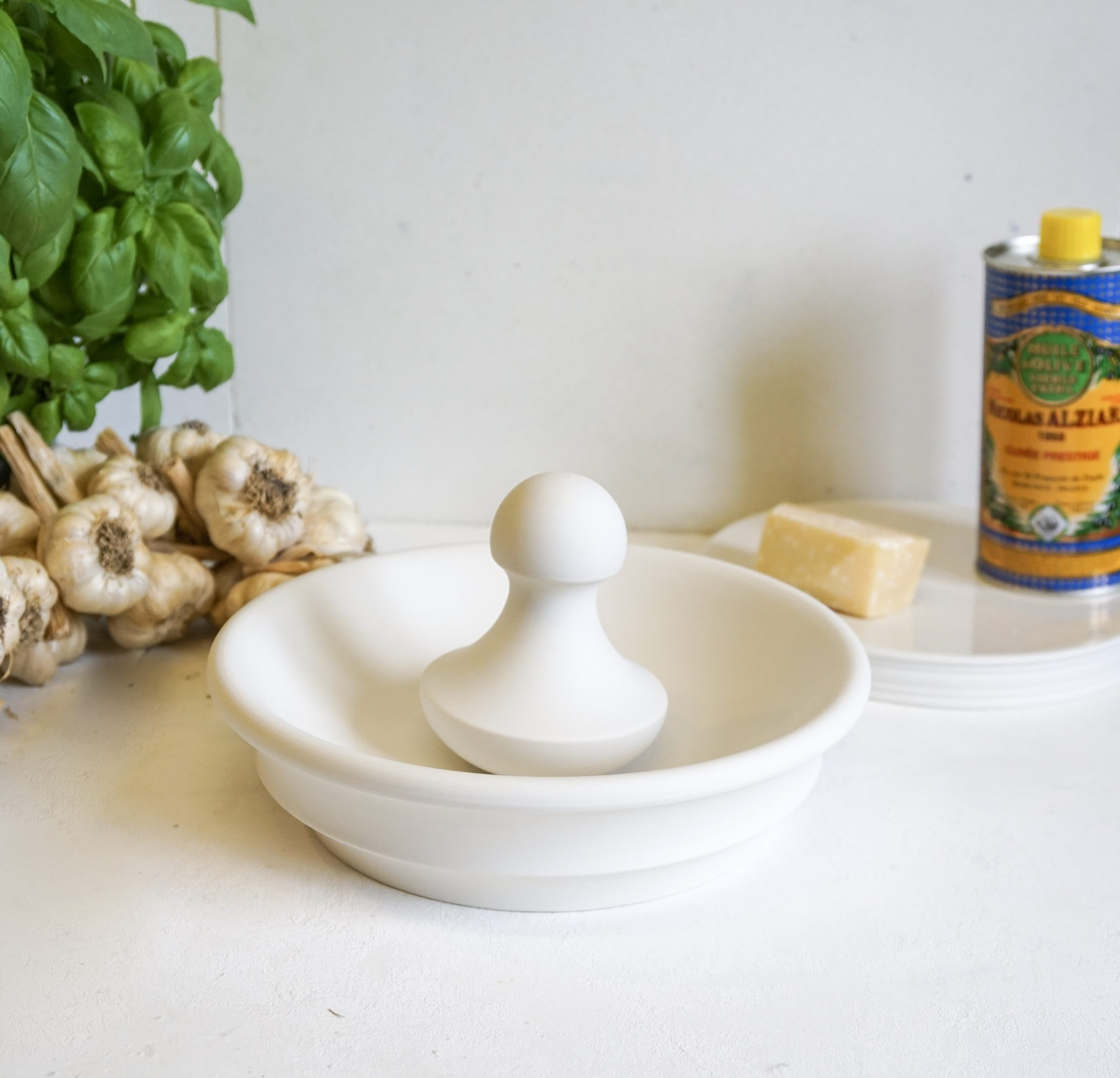 Porcelain Bowl Mortar with Ball Pestle perfect for pesto making