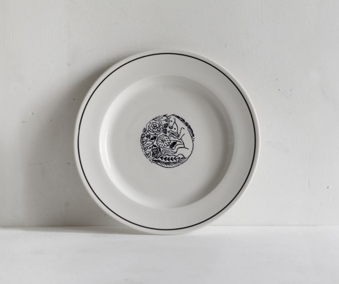 Makoto Kagoshima Pottery Porcelain Dinner Plate hand stamped with a Unicorn design.