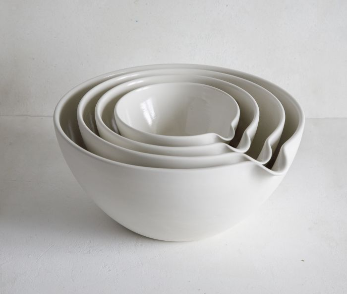 Pottery set of four porcelain Mixing Bowls with pouring spout. Ideal for bakers and cooks.