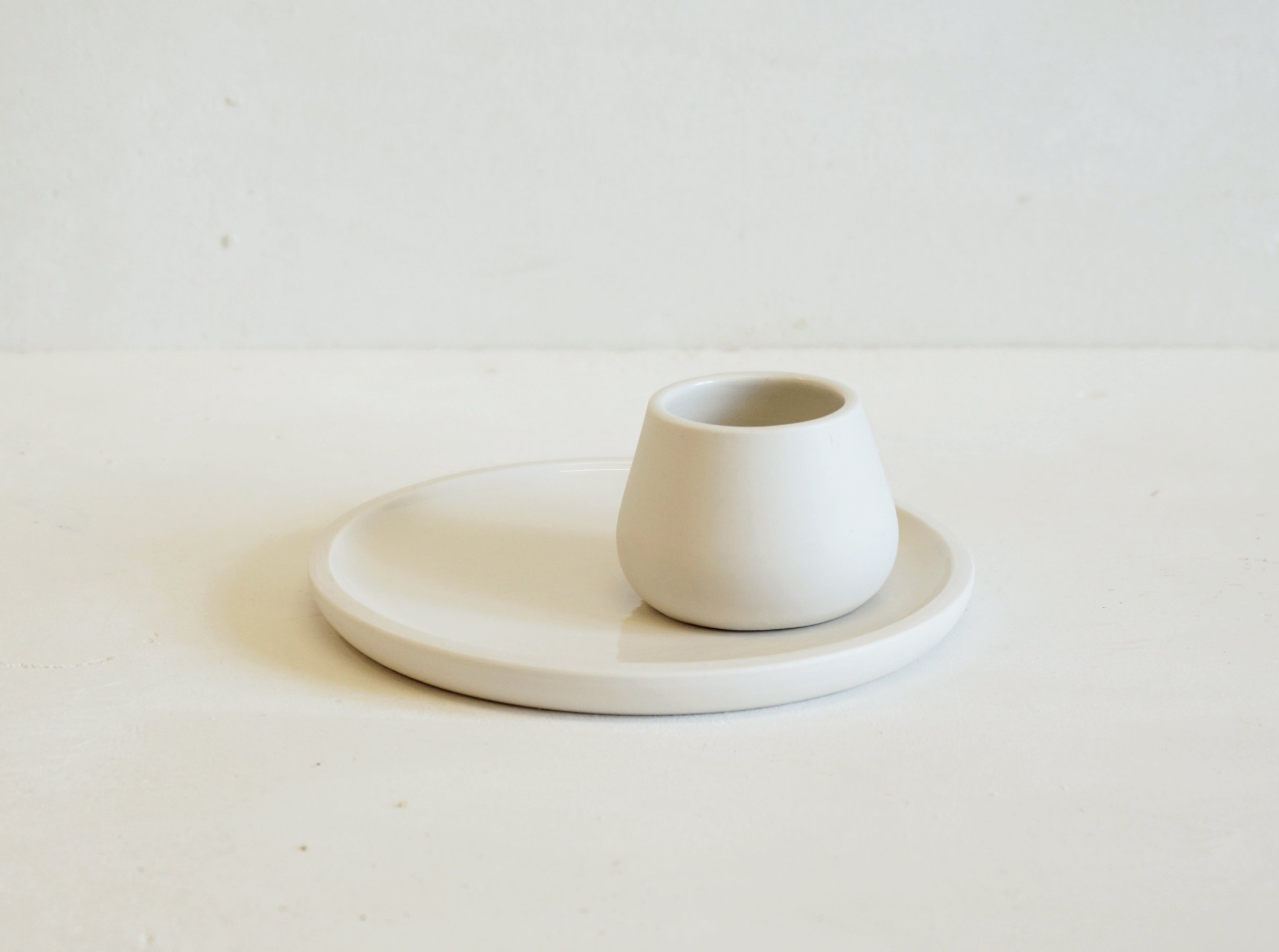 Simple Egg Cup Plate hand thrown in porcelain